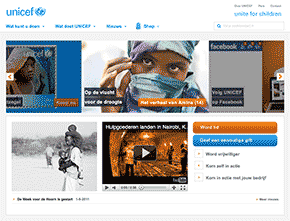 screenshot unicef website
